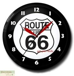 Route 66 Highway Road Neon Aluminum 20 Wall Clock Made Usa 1 Yr Warranty New