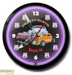 Route 66 Get Your Kicks Neon Aluminum 20 Wall Clock Made Usa 1 Yr Warranty New