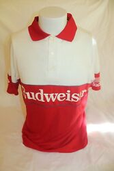 Vintage Team Budweiser Men's Red White Polo Shirt Size Large Made In Usa
