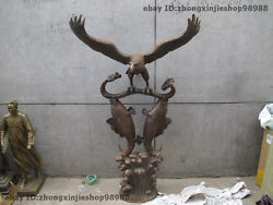 Huge China Folk Bronze Feng Shui Spread Wings Fly Eagle Fish Statue