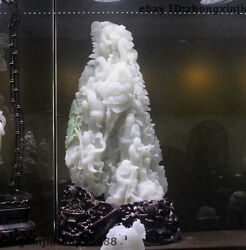 Chinese Royal White Jade Carved Lotus flowers Eight Immortals God Buddha statue