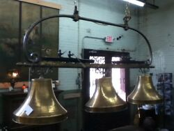 Handcrafted Chandelier One of a Kind 3 Brass Bells and Scull Rowers with Oars