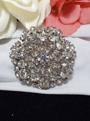 Vintage Estate Silver Rhinestone Layered Snowflake High End Designer Brooch Pin