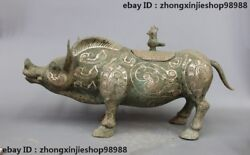 28 China Bronze Ware Silver-gilt Wild Boar Pig Dynasty Palace Deco Statue