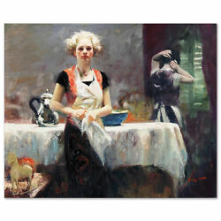 Pino Giclee Canvas S/ In The Late Evening Ladies In Aprons Comes W/ Coa 28x34