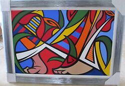 G Mena Tiptoe Through The Tulips Framed Original Oil Large Contemporary Abstract