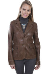 Scully Western Jacket Womens Leather Size M Brown L241 329.99