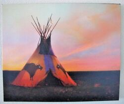 R Tom Gilleon Blue Norther 2/45 Giclee Canvas Native American Tipi Buffalo