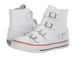 Ash Brand Women's Celeb All Star Virgin Leather Mid Top Shoes Sneakers White