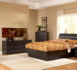 Brown 3 Piece Full Bed Furniture Set Dorm Bedroom Home Living Decor 2-Dr