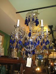 Beautiful Crystal And Sapphire Chandelier 5 Lights