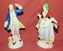 Occupied Japan Figurines - Victorian Man And Woman With Reclining Lambs