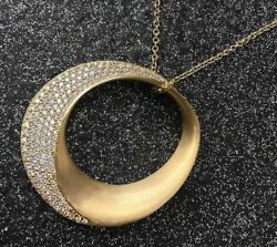 Extra Large 2.85ct Diamond 18kt Yellow Gold 3d Pave Circle Of Life Moon Pendant