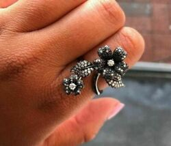 Large 1.0ct White And Black Diamond 18kt Black Gold 3d Double Flower Cocktail Ring