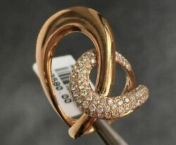 Extra Large .96ct Diamond 18k Rose Gold Criss Cross Pave Love Knot Cocktail Ring