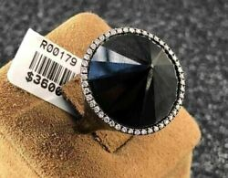 Large 21.74ct White And Black Diamond 18k Black Gold 3d Halo Pyramid Cocktail Ring