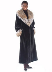 Womens Real Mink Fur Coat Full Length Lynx Fur Collar and Cuffs - The Superior