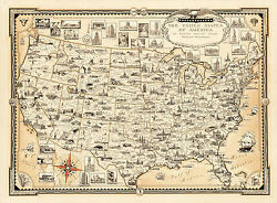 Pictorial Map Of Usa Vintage Historical Wall Art Poster Print Genealogy History