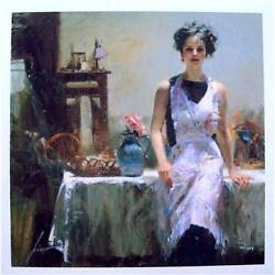 Pino Evening Thoughts In Her Apron Sold Out Embellished Giclee Canvas Hand S
