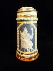 Signed Villeroy And Boch Mettlach Beer Stein - Royal King Drinking Beer Circa 1899