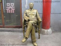 41chinese Bronze Mao Zedong Made A Bamboo Chair Great Person Statue