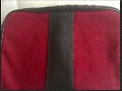 Coach Cosmetic Bag Red and Brown $59.99
