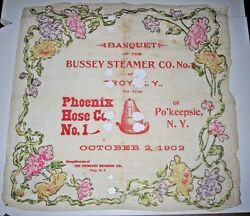1902 Banquet Of Bussey Steamer Co Troy To Phoenix Hose Co No.1 Poughkeepsie Ny