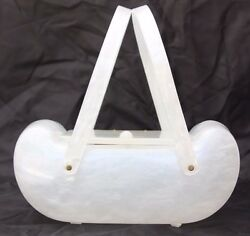 Vintage Llewellyn Inc. Lucite Purse White Ivory Pearlized Evening Hand Bag