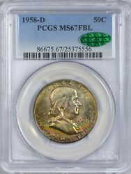 1958 D Franklin Half Dollar Pcgs Ms67 Full Bell Lines - Cac Approved Toning