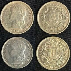Portugal - 2 Old Coins Of 20 Centavos - 1913/1916 - Silver 2x5g - Rare