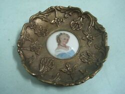 Antique wall small plaque or dish in bronze and porcelain limoges signed 2