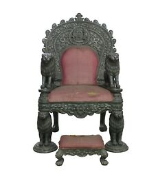Throne Chair Vintage Silver Charm Royal Maharaja Throne Chair Collectible MB008A