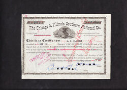 Smallest Us Rr - 5000- Entire Capital - Chicago And Illinois Southern Share Cert.