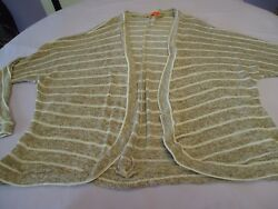 SPOILED WOMENS STRIPED LONG SLEEVE LIGHT WEIGHT OPEN CARDIGAN SIZE LARGE