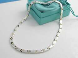 And Co Silver Gold Rectangle Bar Link 17.75 Inch Necklace Excellent