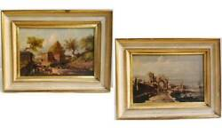 Couple Painted Antique Oil On Board Landscapes Period Nineteenth Century 12 5/