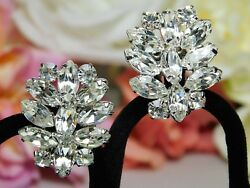 Vintage Estate Silver Rhinestone High End Bridal Earrings