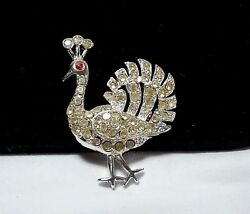 Vintage Estate Silver Rhinestone Peacock Red Jewel High End Designer Brooch Pin