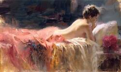 Pino Soft Light Lady Reading In Bed Sold Out Giclee Canvas Hand Signed/coa