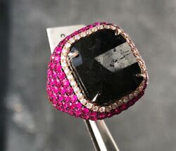 Wide 15.16ct White And Black Diamond And Rubies 18kt Rose Gold Square Halo Pave Ring