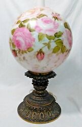 Ooak Louise Piper Signed Hand Painted Lamp Huge 13 Globe Unique 1975 Fenton