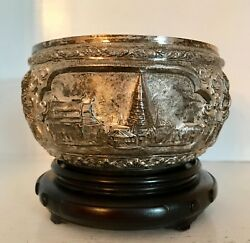 Lovely Old Sterling Silver 6 Repousse Bowl And Stand Buddhist Temples Thailand