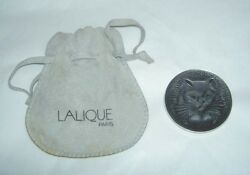 RARE Authentic France LALIQUE Cat Chat Satin Grey Crystal Pin Brooch in Pouch