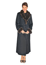 Womens Plus Size Cashmere Coat With Sable Fur Collar And Cuffs - Black Cashmere