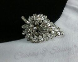 Vintage Silver Estate High End Trifari Marquise Rhinestone Leaf Brooch Pin