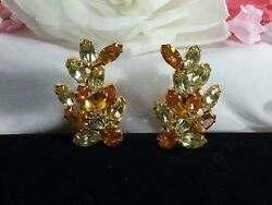 Vintage Estate Gold Amber Topaz Peridot Coma Rhinestone High End Clip Earrings