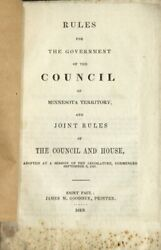 Rules For The Government And Council Of Minnesota Territory And Joint Americana