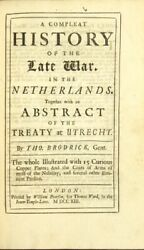 Thomas Brodrick / Compleat History Of The Late War In The Netherlands 1st 1713