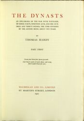 Thomas Hardy / Dynasts An Epic-drama Of The War With Napoleon 1927 Literature