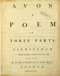 John Huckell / Avon A Poem In Three Parts First Edition 1758 Poetry